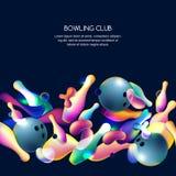 Vector il fondo al neon di bowling con le palle da bowling 3d ed i perni multicolori Illustrazione astratta su fondo nero illustrazione vettoriale