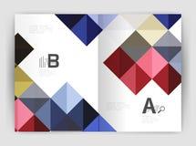Vector il fondo astratto minimalistic quadrato, l'opuscolo a4 di affari del modello della stampa Fotografia Stock