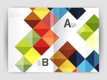 Vector il fondo astratto minimalistic quadrato, l'opuscolo a4 di affari del modello della stampa Fotografia Stock Libera da Diritti