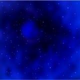 Vector il fondo blu della galassia dello spazio con stardust e le stelle brillanti luminose Immagine Stock