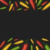 Vector il fondo con i jalapeni su un fondo nero Immagini Stock Libere da Diritti