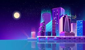 Vector il fondo con la città di notte alle luci al neon royalty illustrazione gratis