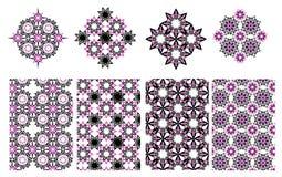 Vector il fondo decorativo etnico floreale ed il modello geometrico Fotografia Stock