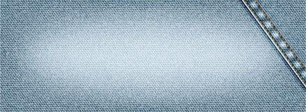 Vector il fondo dei jeans con la cucitura, l'illustrazione realistica del panno del denim, insegna con struttura leggera del deni Immagine Stock