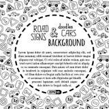 Vector il fondo dei segnali stradali e delle automobili di scarabocchi Fotografia Stock