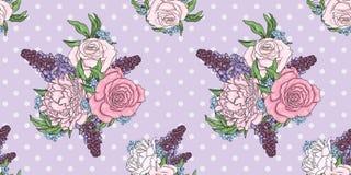 Vector il fondo delle rose, delle peonie, delle glicine e dei nontiscordardime Piante, giardino e fiori Primavera ed estate illustrazione di stock