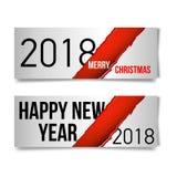 Vector il fondo di festa con i rami di albero dell'abete, gli ornamenti e le lettere di Buon Natale Palle e nastri d'attaccatura  Fotografia Stock Libera da Diritti