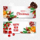 Vector il fondo di festa con i rami di albero dell'abete, gli ornamenti e le lettere di Buon Natale Palle e nastri d'attaccatura  Immagine Stock Libera da Diritti