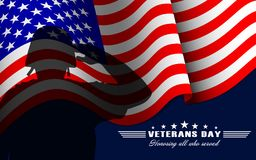 Vector il fondo di giornata dei veterani con il soldato di saluto, la bandiera nazionale degli Stati Uniti e l'iscrizione Modello immagine stock libera da diritti