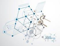 Vector il fondo di ingegneria e di industriale, p tecnica futura illustrazione di stock