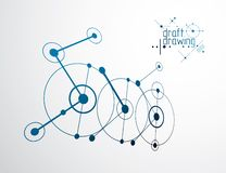 Vector il fondo di ingegneria e di industriale, piano tecnico futuro Modello astratto del meccanismo illustrazione di stock