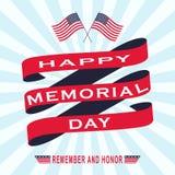 Vector il fondo di Memorial Day con le stelle, il nastro e l'iscrizione Modello per Memorial Day Fotografia Stock Libera da Diritti