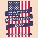 Vector il fondo di Memorial Day con le stelle, il nastro e l'iscrizione Modello per Memorial Day Fotografia Stock