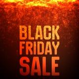 Vector il fondo di vendita di Black Friday con le scintille brillanti che cadono Illustrazione di vettore su fondo rosso scuro Immagini Stock