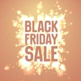 Vector il fondo di vendita di Black Friday con lo scoppio brillante dei fuochi d'artificio Illustrazione di vettore su fondo aran Fotografia Stock Libera da Diritti