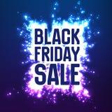 Vector il fondo di vendita di Black Friday con lo scoppio brillante dei fuochi d'artificio illustrazione di vettore su fondo viol Fotografia Stock
