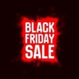 Vector il fondo di vendita di Black Friday con lo scoppio brillante dei fuochi d'artificio rossi Immagini Stock Libere da Diritti