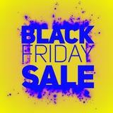 Vector il fondo di vendita di Black Friday con lo scoppio brillante delle scintille blu Illustrazione di vettore su fondo giallo Fotografia Stock