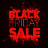 Vector il fondo di vendita di Black Friday con lo scoppio brillante delle scintille rosse Illustrazione di vettore su fondo scuro Immagine Stock