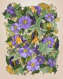 Vector il fondo floreale, i retro fiori e le foglie Illustrazione Vettoriale