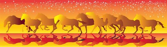 Vector il fondo giallo e rosso con i cavalli che eseguono il galoppo Fotografia Stock