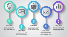 Vector il fondo integrato dei cerchi di concetto di progetto degli elementi di cronologia di punti di affari cinque di infographi illustrazione vettoriale