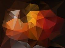 Vector il fondo irregolare del poligono con un modello del triangolo nel colore dell'arancia e di marrone scuro Fotografie Stock Libere da Diritti