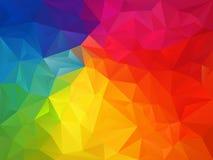 Vector il fondo irregolare del poligono con un modello del triangolo nel multi colore completo - spettro dell'arcobaleno illustrazione vettoriale