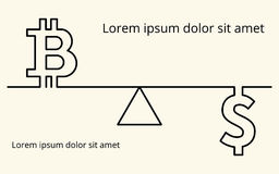 Vector il fondo lineare con le immagini del simbolo del bitcoin digitale di cryptocurrency, del simbolo di valuta del dollaro e d Immagine Stock