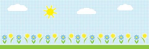Vector il fondo orizzontale con il sole, le nuvole ed i fiori Fotografie Stock