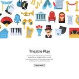 Vector il fondo piano delle icone del teatro con il posto per l'illustrazione del testo illustrazione vettoriale
