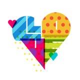 Vector il fondo romantico, cuore multicolore con il modello parola illustrazione di stock
