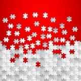 Vector il fondo rosso astratto fatto dal puzzle bianco Fotografie Stock