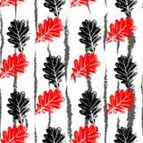 Vector il fondo senza cuciture con le foglie della quercia nera e rossa Fotografie Stock Libere da Diritti