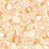 Vector il fondo senza cuciture del modello di ripetizione delle zucche decorate arancio Grande per le progettazioni di tema di ca Immagine Stock Libera da Diritti