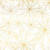 Vector il fondo senza cuciture del modello di ripetizione di Halloween di ragnatela bianca dell'oro Grande per tessuto spettrale, Fotografie Stock Libere da Diritti