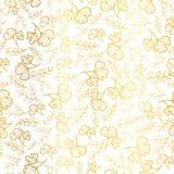 Vector il fondo senza cuciture del modello di ripetizione di struttura dorata delle foglie Grande per il tessuto di caduta, carta Fotografie Stock