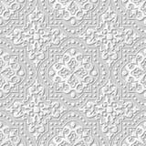 Vector il fondo senza cuciture 247 Dot Line Cross Square del modello di arte della carta 3D del damasco Immagini Stock