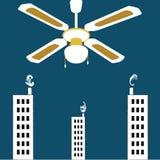 Vector il fondo surrealista, ventilatore da soffitto d'annata enorme sopra la città illustrazione vettoriale