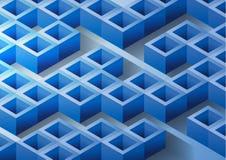 Vector il fondo variopinto astratto con il rettangolo blu 3D Immagini Stock