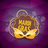 Vector il fondo viola di vettore di martedì grasso di New Orleans con le luci della sfuocatura, la maschera di carnevale ed il te Fotografia Stock