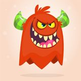 Vector il fumetto di un mostro grasso e lanuginoso arancio di Halloween Isolato illustrazione di stock