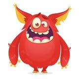 Vector il fumetto di un mostro grasso e lanuginoso rosso di Halloween con le grandi orecchie Carattere divertente di folletto o d royalty illustrazione gratis