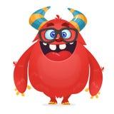 Vector il fumetto di un mostro grasso e lanuginoso rosso di Halloween con le grandi orecchie che indossano i vetri royalty illustrazione gratis
