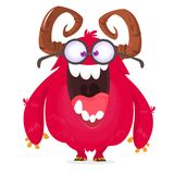 Vector il fumetto di un nerd grasso e lanuginoso rosa del mostro di Halloween con le grandi orecchie che indossano i vetri illustrazione di stock