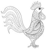 Vector il gallo, l'agricoltore domestico Bird dello zentangle per Colorin adulto Fotografia Stock