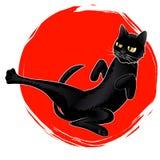 Vector il gatto nero di karatè sveglio sul logo rosso di Sun Fotografia Stock Libera da Diritti