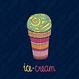 Vector il gelato isolato saporito con il modello senza cuciture del fondo della caramella e del cucchiaio Immagine Stock