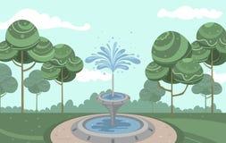 Vector il giardino d'annata con la belle fontana ed acqua schizzare illustrazione di stock