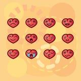 Vector il giorno di biglietti di S. Valentino dell'illustrazione negli emoticon di kawaii di stile sotto forma di cuori con diffe Fotografia Stock